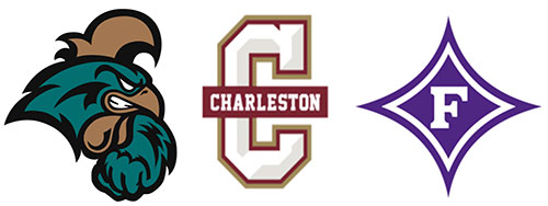 Coastal Carolina, College of Charleston, and Furman logos