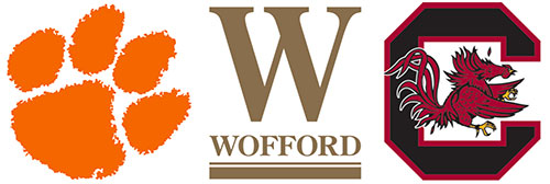 Clemson, Wofford and USC logos