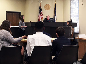 Student lawyer questions witness
