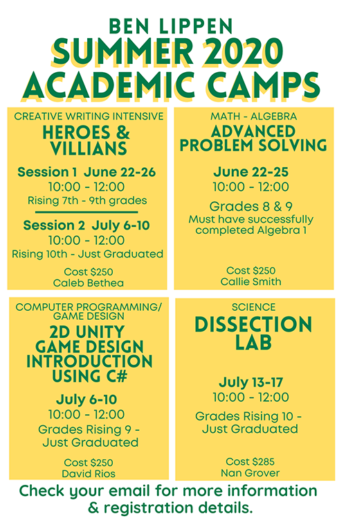 Summer 2020 Academic Camp Schedule